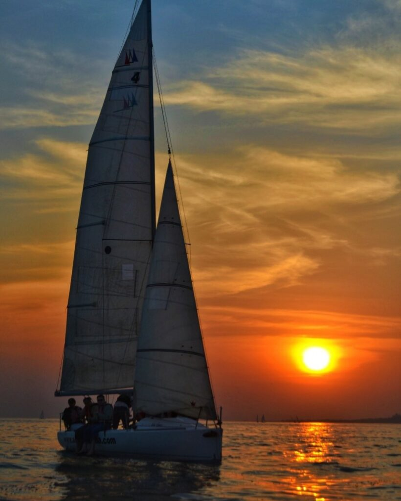 sailing in the Arabian sea during sunset
