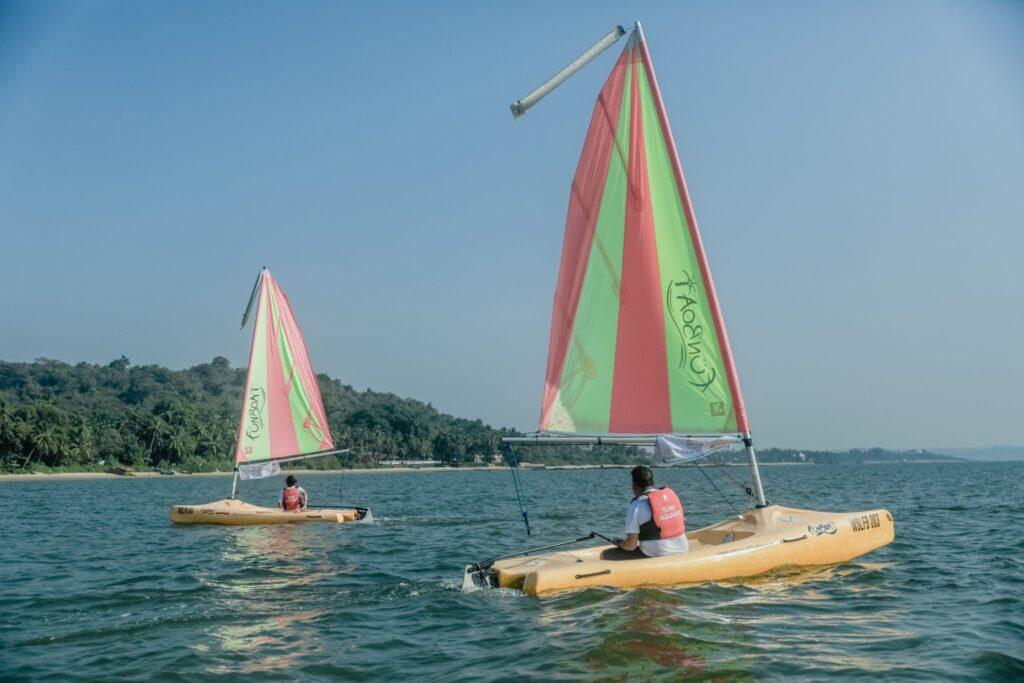 Two people sailing in the Arabian sea